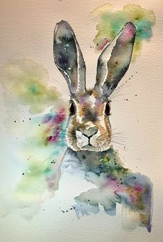 Thank you for viewing my hare painting! This is an original watercolour painting with pen detailing. It is a one-off unique piece of art work, not a print. Bunny Painting, Painting & Drawing, Watercolor Animals, Watercolor Art, Watercolor Projects, Animal Paintings, Animal Drawings, Easter Drawings, Rabbit Art
