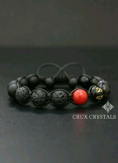 This RED SPOT Lava Rock & Black Onyx Mens Bracelet Gemstone Beaded is just one of the custom, handmade pieces you'll find in our beaded bracelets shops. Beaded Jewelry, Handmade Jewelry, Beaded Bracelets, Beaded Earrings, Handmade Gifts, Shamballa Bracelet, Ring Armband, Bracelet Making, Jewelry Making