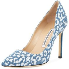 Manolo Blahnik BB Printed Denim 105mm Pump ($365) ❤ liked on Polyvore featuring shoes, pumps, heels, denim leopard, high heel shoes, pointed toe high heel pumps, leopard shoes, leopard print shoes and stacked heel pumps