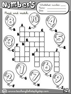 Numbers - Worksheet 3 (B&W version): Primary English, Kids English, English Lessons, Learn English, English Teaching Resources, English Activities, Ingles Kids, Welcome To School, English Exercises