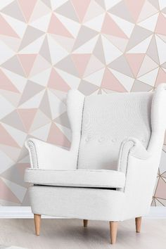 A fun and flamboyant Albany geometric wallpaper design in pink and rose gold. Pink Geometric Wallpaper, Rose Gold Wallpaper, Wallpaper Decor, Wallpaper Ideas, Gray Painted Walls, Grey Walls, Gold Bedroom, Bedroom Decor, Bedroom Ideas