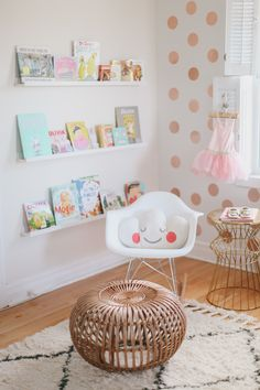 The chair the gold polka dot walls book corner and little lamp. Reading Nook Kids, Cozy Reading Corners, Nursery Reading, Little Girl Rooms, Nursery Inspiration, Kid Spaces, Kids Decor, Girls Bedroom, Room Decor