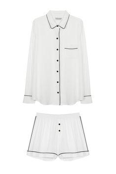 Masini & Chern | Pyjama Long Sleeve & Short Set - White | MYCHAMELEON.COM.AU