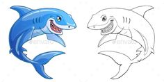 The friendly cheerful kind smiling shark color full and contour line on a white background. Marine predatory animal fish. Cartoon