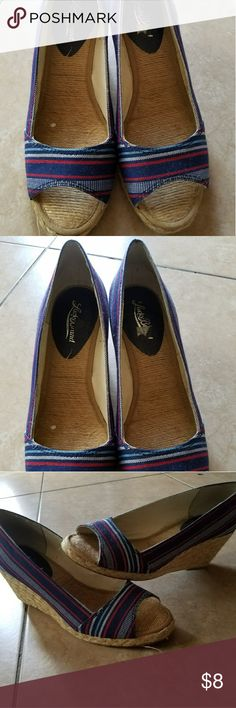 Lucky Brand Wedges Red, white and blue wedge shoes Lucky Brand Shoes Wedges