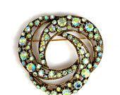 On Sale Vintage Florenza Green Aurora Borealis Rhinestone Brooch