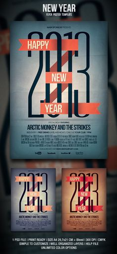 New Year Flyer / Poster by Kobicz Design, via Behance