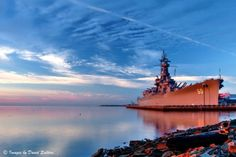 USS Alabama at Sunrise Mobile Bay