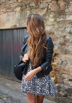 leather jacket + floral dress