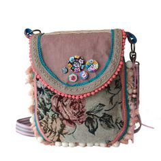 7361a338538 Ibiza crossbody bag in pink turquosie with tassels and pompons, rose  fabric, ribbon and lace,bohemian style OOAK bags handmade
