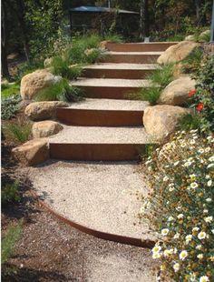 Pea gravel steps