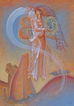 The Night & Wind Give Birth to Eros - George Kordis Byzantine Icons, Byzantine Art, Richard Burlet, Zeus And Hera, Architecture Art Design, Greek Art, Sacred Art, Our Lady, Beautiful Paintings