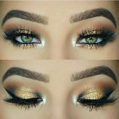 Gold eye shadow & perfect brows!