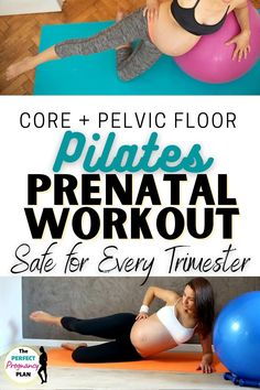 The perfect pregnancy workout routine safe for the first trimester, second, and third trimesters. Exercise your core during pregnancy and strengthen your pelvic floor with this safe pregnancy exercise routine that also strengthens hips and legs for less aches and pains while you're preggo. This is a sneak peek workout from the Perfect Pregnancy Plan so you KNOW it's good for prenatal exercise! #prenatalworkout #prenatalexercise #pregnancyworkout #pregnancyexercise #fitpregnancy…