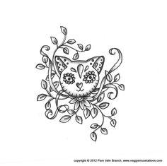 0026 Sugar Skull Cat Tattoo Design. $15.00, via Etsy.