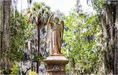 A beautiful ornate angel statue at Bonaventure Cemetery in Savannah, Georgia. - April O'Hare Photography http://www.apriloharephotography.com