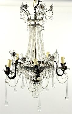 Magnificent petite iron and crystal five light chandelier of Swedish basket form