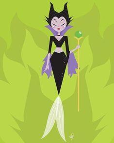 Maleficent [as a mermaid] (Drawing by HalfyAshy Mermaid Disney, Mermaid Art, Baby Disney, Disney Love, Disney Magic, Disney Girls, Disney Movie Characters, Disney Villains, Disney Pixar