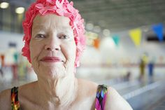 Elderly Woman in Colorful Bathing Cap