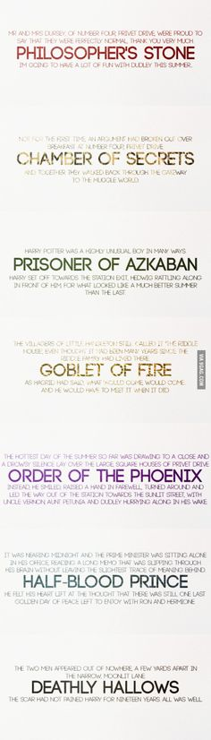 First and last lines of Harry Potter