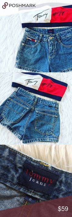"• Tommy Hilfiger • Vintage High Waisted Shorts \ Waist 12.5""   \\ Rise 9""  \\ Inseam 2.5""   No modeling; too small for me  ❗️Check out my closet for the vintage bandeau❗️ Tommy Hilfiger Shorts Jean Shorts"