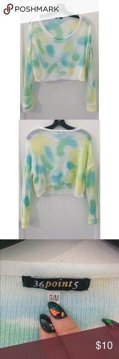 White Blue Yellow Green Long Sleeve Crop Top S/M Barely worn In great condition! Tops Crop Tops