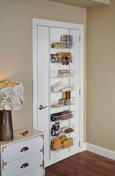 Features: -All hardware included. -Material: Epoxy coated steel. -Mount over the door or on the wall. Product Type: -Hanging Organizer. Intended Use: -Scarf/Purse. Primary Material: -Metal. Dime