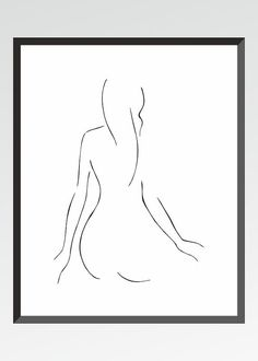 Minimalist line art of female nude from back. The print is NOT FRAMED!  Available sizes: 8x8  (20x20cm) 8x10  (20x25cm) 8.3x11.7 (21x29.7cm-A4 )  This is a limited edition quality print of my original ink drawing. Printed with Canon Pixma iP7250 series printer on a slightly cream toned 200g watercolor like art paper. Signed by the artist. ----------------- © 2015 Siret Roots Do not copy or distribute in any form. Reproduction rights are not transferable with sale.