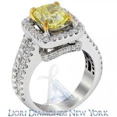 3.67 CT. Fancy Yellow Cushion Cut Diamond Engagement Ring 18K Gold Vintage Style - Fancy Color Engagement Rings - Engagement - Lioridiamonds.com