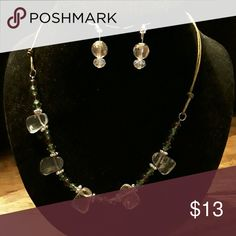 Earing Necklace Set Clear quartz on leather strap. Custom made jewelry  Jewelry Necklaces