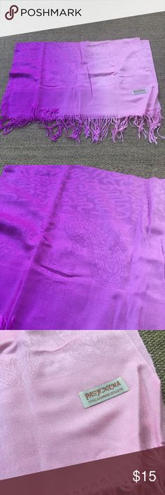 🆕 Purple/Pink Ombré Pashmina Scarf Brand new. 55% Pashmina and 45% Silk. 🐾 Pet-friendly, smoke-free home. 🚫 No trades. No holds. 📦 Fast shipping! 🙋🏻 Considering all reasonable offers! Pashmina Accessories Scarves & Wraps