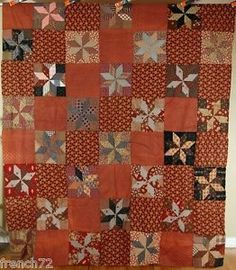 Handsome Vintage 1880's Hand Pieced Stars Quilt Tops Nice Early Brown Fabrics | eBay