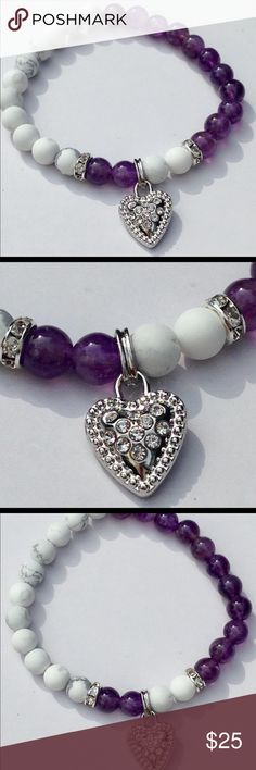 "Purple Amethyst and White Howlite Heart Bracelet This gorgeous bracelet is made with natural amethyst and matte white howlite. It features a beautiful rhinestone encrusted silver tone heart charm and two rhinestone beads. This piece is on elastic and will stretch to fit up to an 8"" wrist. The charm can be switched out on request.   All PeaceFrog jewelry items are made by me! Take a look through my boutique for coordinating jewelry and more unique creations. PeaceFrog Jewelry Bracelets"
