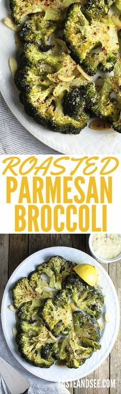 Roasted Parmesan Broccoli - Roasted with olive oil, Parmesan cheese, sliced garlic, and finished with lemon zest. Super simple & healthy, this is a yummy, easy veggie dish. http://tasteandsee.com Brocolli Apple Salad, Roasted Brocolli And Cauliflower, Roasted Broccoli Parmesan, Grilled Broccoli, Keto Cauliflower, Healthy Broccoli Recipes, Brocolli Recipes, Broccoli Dishes, Vegetable Dishes