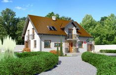 Projekt domu - Dom przy Alabastrowej 20 115.00m² | GALERIADOMOW.PL Case, Home Fashion, House Plans, Mansions, House Styles, Home Decor, Chalets, Decoration Home, Manor Houses