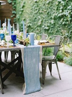 Blue and neutral tablescape