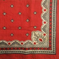 love vintage bandanas....Trifecta #turkeyred #bandanna #floral Textile Patterns, Textile Design, Fabric Design, Pattern Design, Textiles, Pocket Squares, Bandanas, Vintage Bandana, Red Bandana