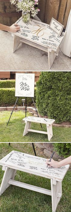 For a unique guest book alternative, the bride and groom can use a decorative bench personalized with their names and wedding date surrounded by signatures from family and friends around the home instead of storing their wedding guest book in a closet or chest never to be seen again. Use as a guest book stand or as a stand-alone alternative for wedding guest signatures. This bench can be ordered at http://myweddingreceptionideas.com/personalized-rustic-white-wood-guest-book-bench.asp