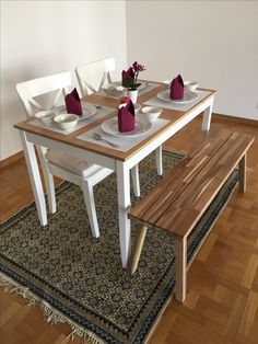 Dinning Area Setup For Our First Formal Lunch IKEA LERHAMN Table Ingolf Chairs