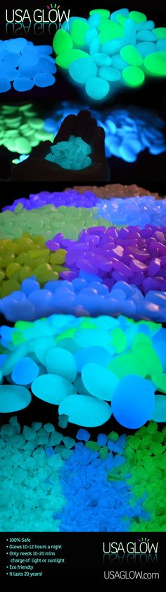 Eco friendly glow in the dark pebbles and aggregates. The pebbles are used for glow in the dark fun indoors and outdoors, wherever there is light (so the pebbles can charge). The aggregate is used in hardscaping, concrete, concrete countertops, pools or even fish tanks! See more eco friendly products at usaecosystems.com #dayglow #summercrafts #springcrafts #nightlights #lighting #ecofriendly #sustainablelandscaping #glowinthedark #sustainableideas #landscaping #fun #craft #glow #funwithkids