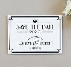 Art Deco Style Save The Date Invitation