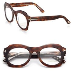 Tom Ford Eyewear 49MM Geometric Acetate Optical Glasses ($430) ❤ liked on Polyvore featuring accessories, eyewear, eyeglasses, apparel & accessories, havana, tom ford eyewear, clear eye glasses, lens glasses, clear glasses and tom ford eyeglasses