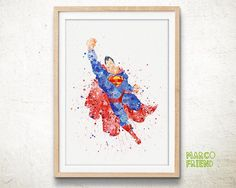 Superman Watercolor Poster, Superhero Superman Art Print - Wall Art - Justice League Watercolor Painting - Kids Decor - Marvel DC Comics -27
