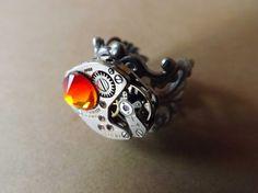 El anillo steampunk Fuego / Steamretro, joyería gótica y steampunk - Artesanio