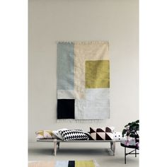 Kelim rug/carpet with a significant graphic touch and colour palette by Ferm Living.