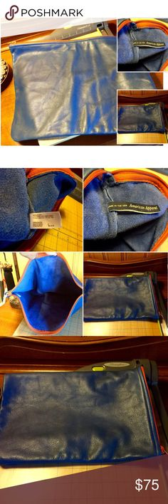 AMAZING BLUE LEATHER BAG FOLD OVER SUEDE INTERIOR HARD TO PART W/ THIS RARE 100% TOTAL PIECE OF LEATHER THIS BEAUTY USE FOR ALL SORTS OF THINGS TRAVEL LAPTOP FOLD OVER CLUTCH SOFTEST LEATHER EVER IN EXCELLENT CONDITION DEEP RICH SLATE BLUE 🚫TRADE 🚫PP American Apparel Bags Travel Bags