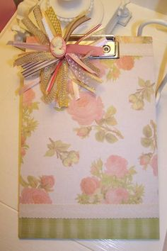 Altered board with ribbon puff by Leigh Grady - Cards and Paper Crafts at Splitcoaststampers
