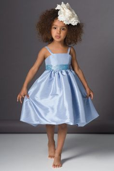 Sleeveless taffeta charming flower girl dress with empire waist