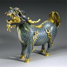A Large And Impressive Cloisonne Enamel 'Kylin' Incense Burner And Cover. Qing Dynasty, Kangxi Period standing four-square with. Chinese Crafts, Chinese Art, Chinese Element, Chinoiserie, Fu Dog, Incense Burner, Qing Dynasty, Chinese Antiques, Woodblock Print