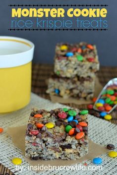 Monster Cookie Rice Krispie Treats   Inside BruCrew Life - rice krispie treats loaded with Oreos, Nutter Butter cookies, mini MM's, and chocolate chips #monstercookies #ricekrispietreats